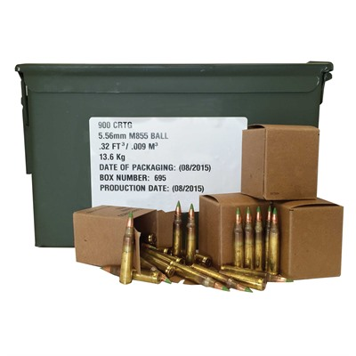 Lake City M855 5.56x45 Nato 62gr Fmj 900-Rd Can W/Ss109 Bullet - Lake City M855 5.56 62gr Fmj Green