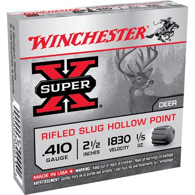 Winchester Super X Slugs Shotgun Ammunition Winchester Super X Slugs 410ga 2 1/2 1/5oz Rifled Slug U.S.A. & Canada