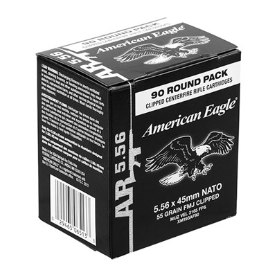 American Eagle Tactical Ammo 5.56x45mm Nato 55gr Xm193 Clips - 5.56x45mm Nato 55gr Fmj-Bt Stipper Cl