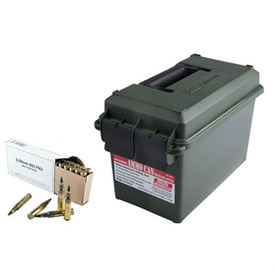 White Box Rifle Ammo Cans - 5.56 Nato M855 Green Tip 400/Rd Ammo Can
