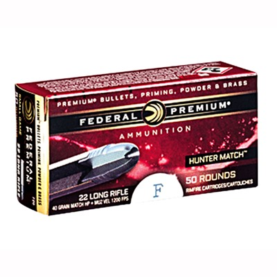 Premium Hunter Match Ammo 22 Long Rifle 40gr Match Hollow Point - 22 Long Rifle 40gr Hp 50/Box