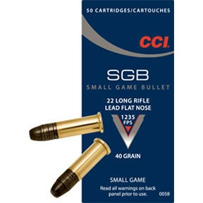 Small Game Bullet Ammo 22 Long Rifle 40gr Lead Flat Nose - 22 Long Rifle 40gr Lead Flat Nose 50/Box