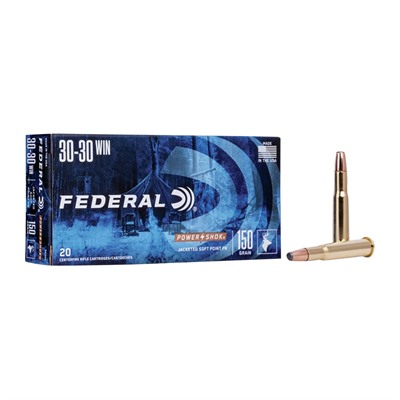Power-Shok Flat Nose Ammunition - Federal Ammo 30-30 Win 150gr Hishk Sp Fn 20/Bx