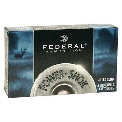 Power-Shok Rifled Slug Ammunition - Federal Ammo Slug Classic Rifled 20ga 2 3/4 3/4oz  Hp 5/Bx