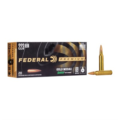 Gold Medal Match Ammo 223 Remington 69gr Hpbt - 223 Remington 69gr Matchking Hpbt 20/Box