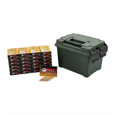 Wolf Gold 223 Rem Fmj Ammo Can - Wolf Gold .223 Remington 55gr Fmj 500 Round Ammo Can