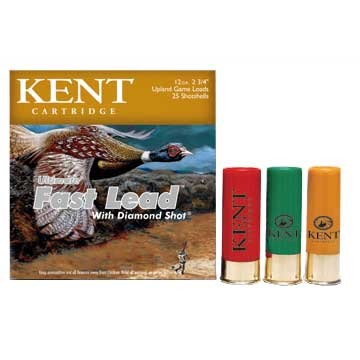 "Kent Cartridge ""diamond Shot"" Lead Shotshells Kent Ammo 12ga Ufl 3 1 3/4oz #4 25bx U.S.A. & Canada"