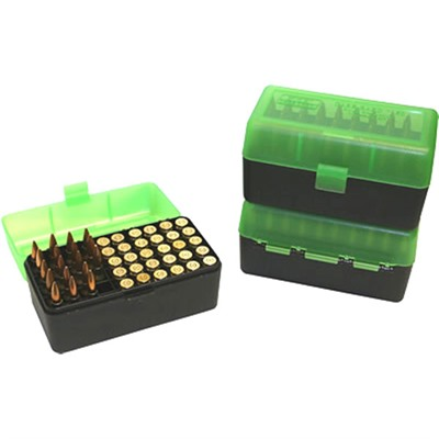 Rifle Ammo Boxes - 50 Round Case-Gard W/Flip-Top-Magnum-Clear Green&Black