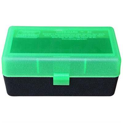 Rifle Ammo Boxes - 50 Round Case-Gard W/Flip-Top-Short Mags-Clear Green&Black
