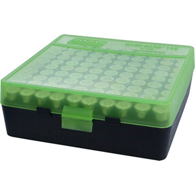 100 Round Pistol Case-Gard With Flip-Top - 100 Round Pistol Ammo Box-Clear Green & Black (9mm-380)